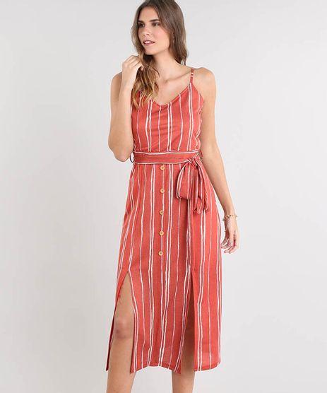 Vestido-Feminino-Midi-Listrado-com-Botoes-e-Fenda-Alca-Fina-Cobre-9505216-Cobre_1