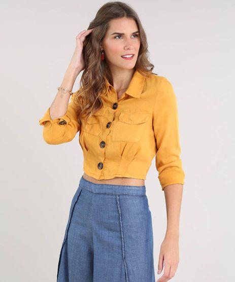 af43c0639c Camisa-Feminina-Cropped-com-Bolsos-Manga-Longa-Mostarda-