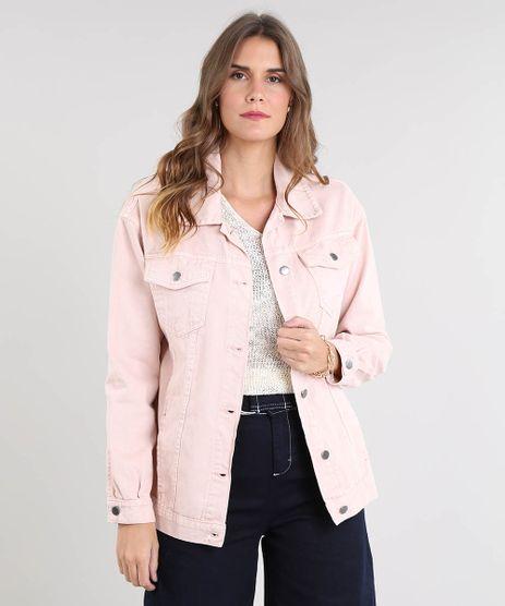 Jaqueta-de-Sarja-Feminina-Longa-com-Bolsos-Rose-9532122-Rose_1