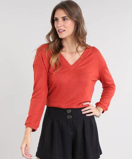 Sueter-Feminino-Amplo-em-Trico-Decote-V-Cobre-9343586-Cobre_1