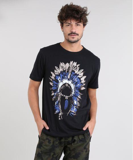 496b8e574 Camiseta Masculina Cocar Manga Curta Gola Careca Preta - cea