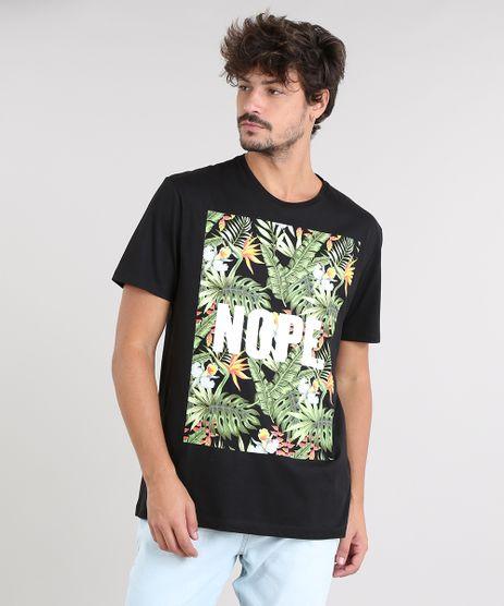 82d8863ebe Camiseta-Masculina-com-Estampa-de-Folhagem-Manga-Curta-