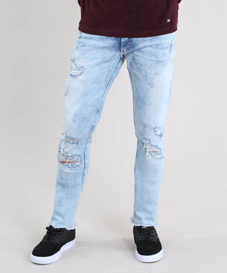 Calca-Jeans-Masculina-Slim-Destroyed-Azul-Claro-9524677-Azul_Claro_1