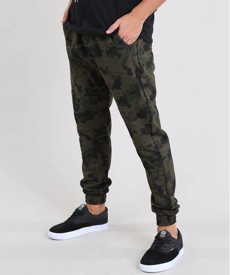 Calca-Masculina-Jogger-Estampada-Camuflada-em-Moletom-Verde-Militar-9542713-Verde_Militar_1