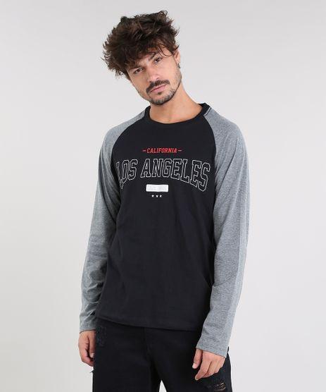 Camiseta-Masculina--Los-Angeles--Raglan-Manga-Longa-Gola-Careca-Preta-9462916-Preto_1