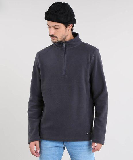 Blusao-Masculino-Basico-em-Fleece-com-Ziper-Cinza-Chumbo-9335089-Cinza_Chumbo_1