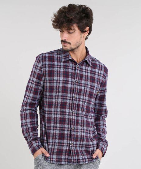 Camisa-Masculina-Estampada-Xadrez-em-Flanela-Manga-Longa-Azul-Marinho-9383366-Azul_Marinho_1