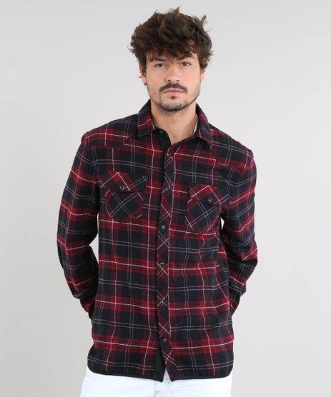 Camisa-Masculina-Estampada-Xadrez-com-Suede-Manga-Longa-Vermelho-Escuro-9381718-Vermelho_Escuro_1