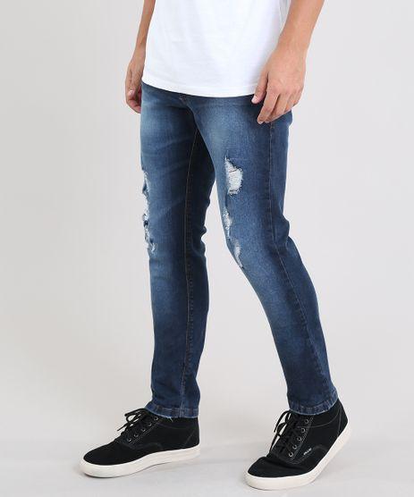 Calca-Jeans-Masculina-Slim-com-Rasgos-Azul-Escuro-9524675-Azul_Escuro_1