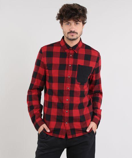 Camisa-Masculina-Estampada-Xadrez-com-Bolso-Manga-Longa-Vermelha-9367456-Vermelho_1