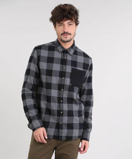 Camisa-Masculina-Estampada-Xadrez-com-Bolso-Manga-Longa-Chumbo-9367456-Chumbo_1