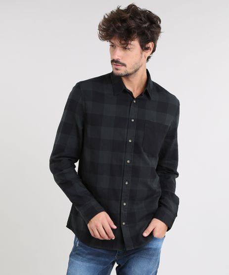 Camisa-Masculina-Estampada-Xadrez-com-Bolso-Manga-Longa-Verde-Escuro-9367456-Verde_Escuro_1