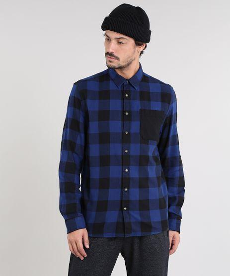 Camisa-Masculina-Estampada-Xadrez-com-Bolso-Manga-Longa-Azul-9367456-Azul_1