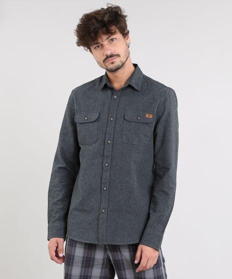Camisa-Masculina-com-Bolsos-Manga-Longa-Cinza-Mescla-Escuro-9383367-Cinza_Mescla_Escuro_1