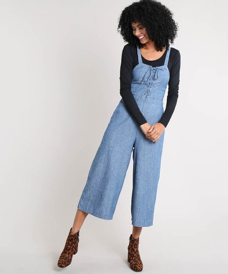 Macacao-Jeans-Feminino-Pantacourt-com-Lace-Up-Azul-Medio-9539070-Azul_Medio_1