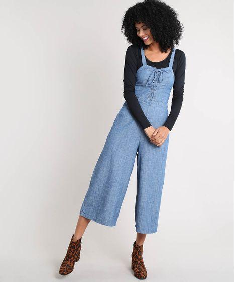 5e16ec2cb Macacão Jeans Feminino Pantacourt com Lace Up Azul Médio - cea
