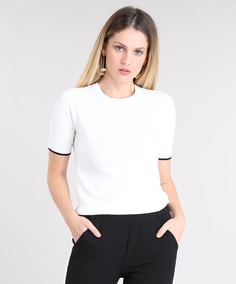 Blusa-Feminina-Bicolor-em-Trico-Manga-Curta-Decote-Redondo-Off-White-9427966-Off_White_1