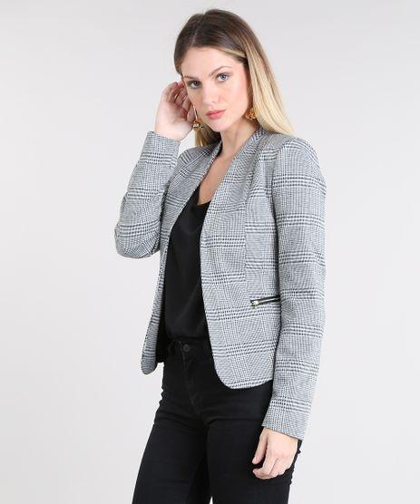 Blazer-Feminino-Estampado-Xadrez-com-Ziper-Cinza-Mescla-9383125-Cinza_Mescla_1
