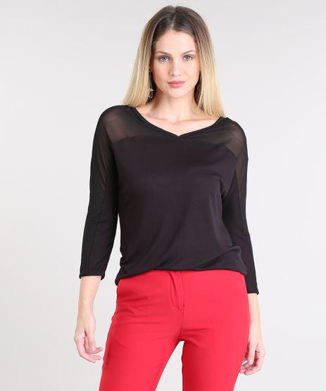 Blusa-Feminina-em-Trico-com-Tule-Preta-9508522-Preto_1