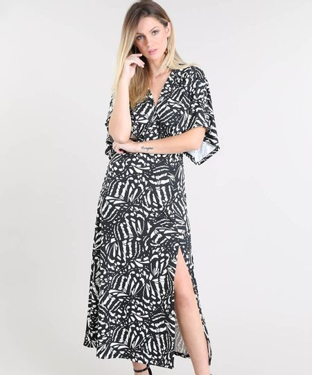 75654bf9f9 Vestido Feminino Midi Estampado com Fenda Manga Curta Preto