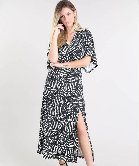 e1d6274760 Vestido Feminino Midi Estampado com Fenda Manga Curta Preto - cea