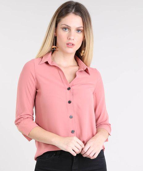 Camisa-Feminina-Basica-Manga-7-8-Rose-9433935-Rose_1