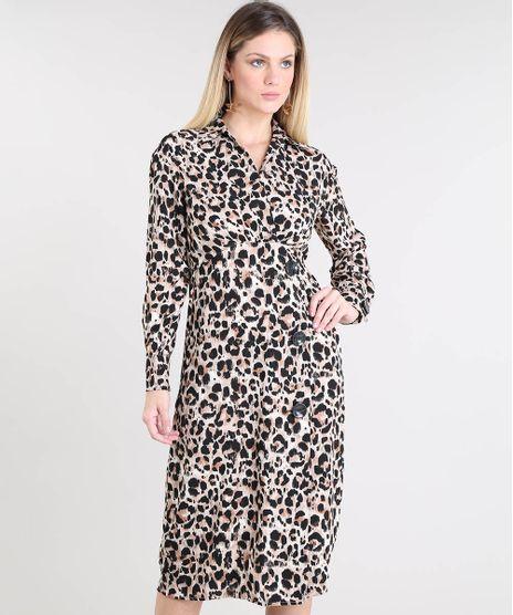 33070df7a3 Vestido-Feminino-Midi-Estampado-Animal-Print-com-Botoes-