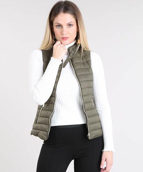 0d38acb21 Colete-Feminino-Puffer-com-Fivela-Verde-Militar-9358140-