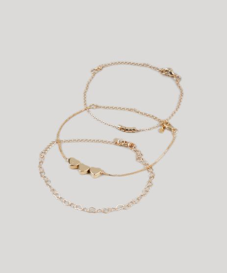 Kit-de-3-Pulseiras-Femininas-com-Coracoes-Dourado-9437634-Dourado_1