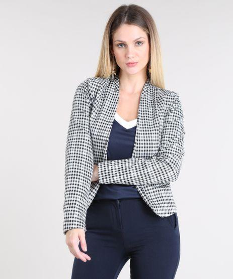 Blazer-Feminino-Estampado-Xadrez-com-Ziper-Preto-9382144-Preto_1
