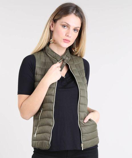 Colete-Feminino-Puffer-com-Fivela-Verde-Militar-9358139-Verde_Militar_1