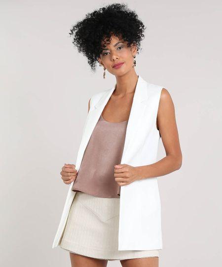 49431cda7 Colete Feminino Longo com Fenda Off White