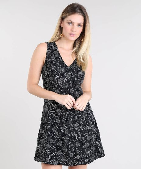 Vestido-Feminino-Evase-Estampado-de-Poa-Alca-Larga-Preto-9411289-Preto_1