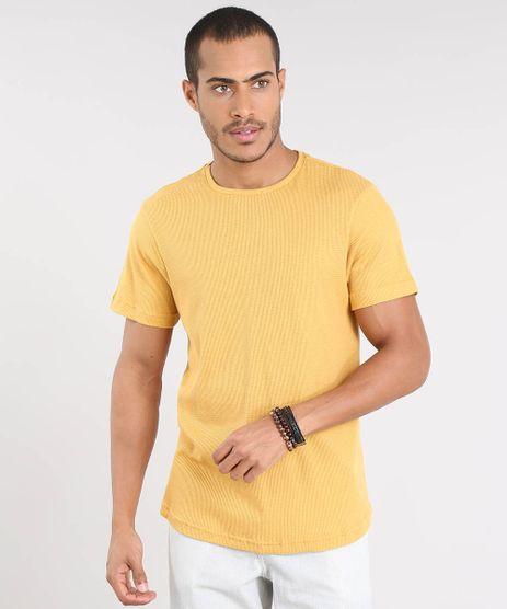 Camiseta-Masculina-Slim-Fit-Texturizada-Manga-Curta-Gola-Careca-Mostarda-9451745-Mostarda_1