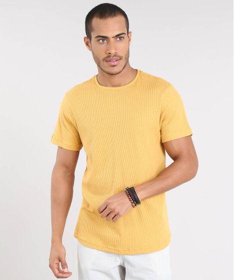 473a16f37a Camiseta Masculina Slim Fit Texturizada Manga Curta Gola Careca ...
