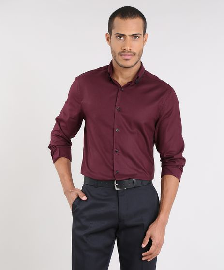 Camisa-Masculina-Comfort-Manga-Longa-Vinho-9475664-Vinho_1