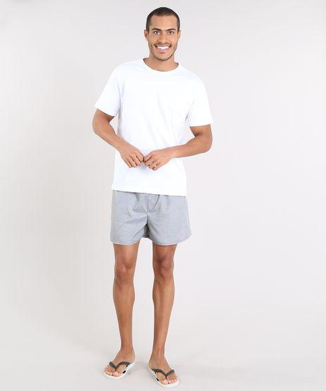 Pijama-Masculino-com-Camiseta-Manga-Curta---Samba-Cancao-Estampada-Xadrez-Branco-9478937-Branco_1