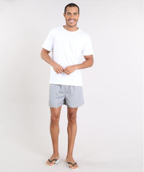 18e2faf4268ad3 Pijama Masculino com Camiseta Manga Curta + Samba Canção Estampada Xadrez  Branco