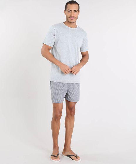 Pijama-Masculino-com-Camiseta-Manga-Curta---Samba-Cancao-Estampada-Xadrez-Cinza-Mescla-9478936-Cinza_Mescla_1