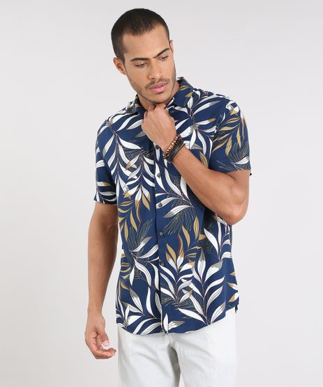 Camisa-Masculina-Estampada-de-Folhagem-Manga-Curta-Azul-Marinho-9448223-Azul_Marinho_1