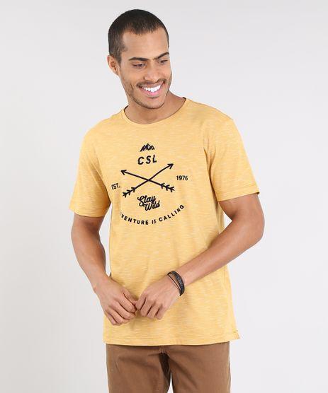 Camiseta-Masculina--Stay-Wild--Manga-Curta-Gola-Careca-Mostarda-9455928-Mostarda_1