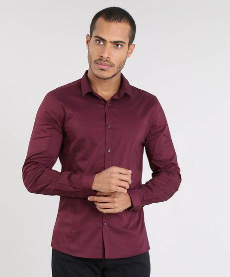 Camisa-Masculina-Super-Slim-Manga-Longa-Vinho-9372459-Vinho_1