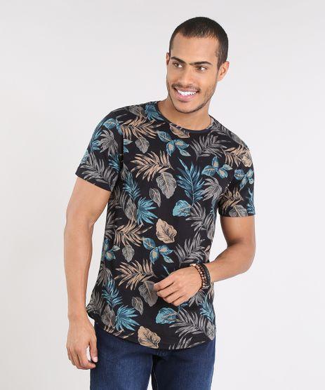 Camiseta-Masculina-Slim-Fit-Estampada-de-Folhagem-Manga-Curta-Gola-Careca-Preta-9341857-Preto_1