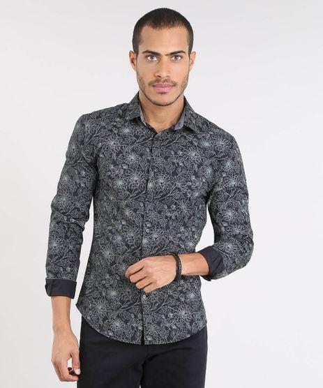 Camisa-Masculina-Slim-Estampada-Floral-Manga-Longa-Preta-9372491-Preto_1