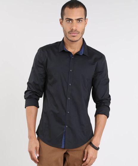 983cdf9e73 Camisa-Masculina-Slim-Manga-Longa-Preta-9343393-Preto 1