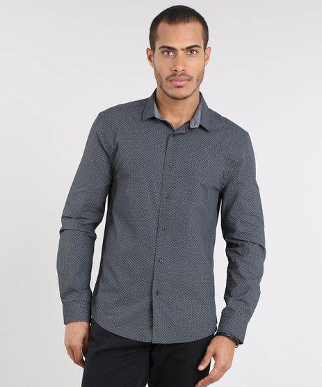 Camisa-Masculina-Slim-Estampada-Manga-Longa-Preta-9372493-Preto_1