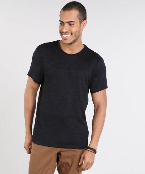 Camiseta-Masculina-Slim-Fit-em-Trico-Manga-Curta-Gola-Careca-Preta-9338920-Preto_1
