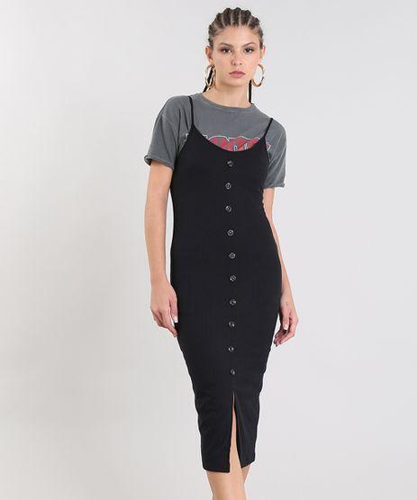 Vestido-Feminino-Midi-Canelado-com-Botoes-e-Fenda-Alca-Fina-Preto-9483569-Preto_1