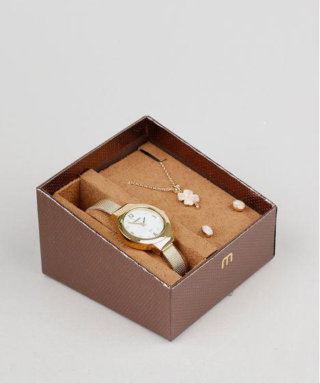 118573464 Kit de Relógio Analógico Mondaine Feminino + Brinco + Colar ...