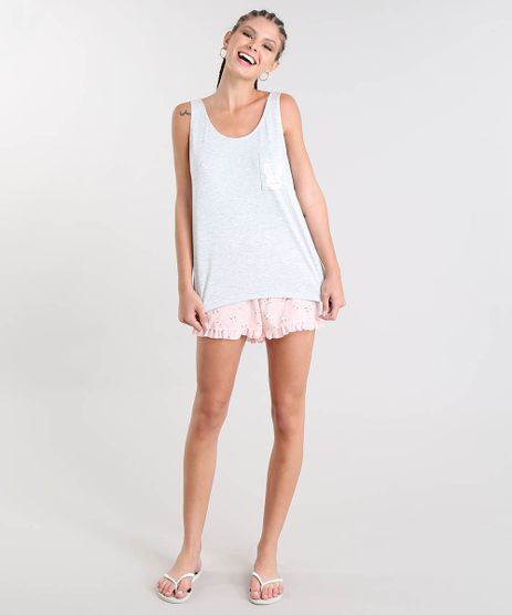 Pijama-Feminino-Estampado-de-Coelhos-Regata-Cinza-Mescla-9505368-Cinza_Mescla_1